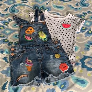 Girls Cat and Jack shorts overalls set